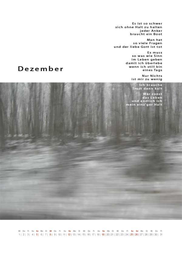 Dezemberblatt des kakanischen Kalenders 2010