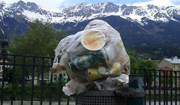 Plastik vor Bergkette